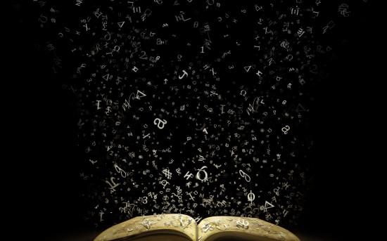 palavras saindo do livro