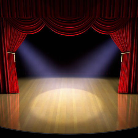 Theatre stage with red curtain