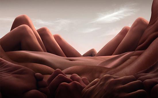 paisagem com corpos nus